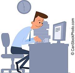 informatique, ouvrier, bureau, dactylographie