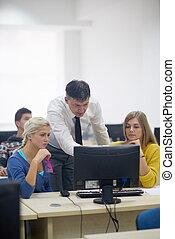 informatique, prof, laboratoire, classrom, étudiants