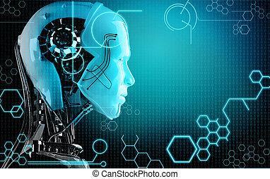 informatique, robot, fond