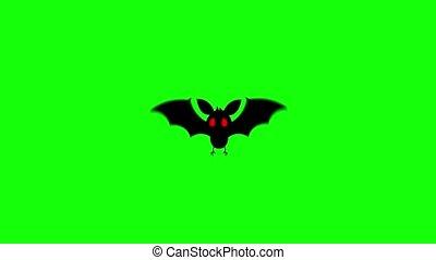 informatique, rouges, chauve-souris, yeux, voler, graphique, animation., écran, vert