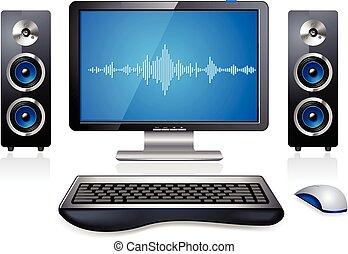 informatique, station, multimédia, pc
