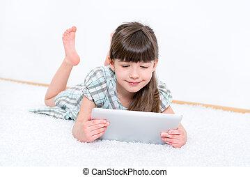 informatique, tablette, enfant