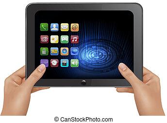 informatique, tablette, illustration numérique, vecteur, icons., tenant mains