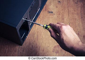informatique, tournevis, main, ouverture