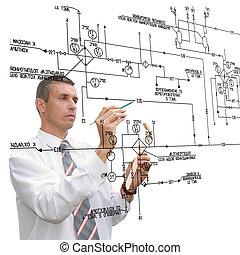 ingénierie, concevoir, schéma