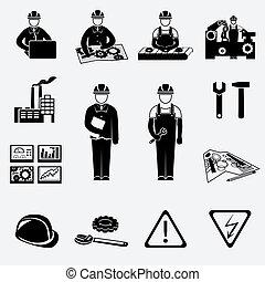 ingénierie, ensemble, icônes
