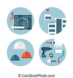 ingénierie, sur, ensemble construction, icônes, plat