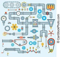 ingénierie, technologie, mécanisme, vecteur, design., industrie, partie, engrenage, engine., robotique, automatique, parties, travail, technique, mécanicien, matériel industriel, usine, icônes, ensemble, mécanique, outillage, machinerie