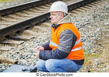 ingénieur, table, ferroviaire, fonctionnement