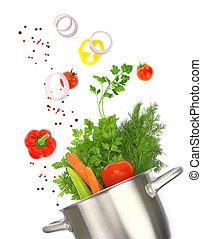 ingrédients, pot, cuisine, isolé, légume, frais, blanc