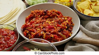 ingredinets, pan., divers, burritos, préparer, blanc, mexicain nourriture, légume