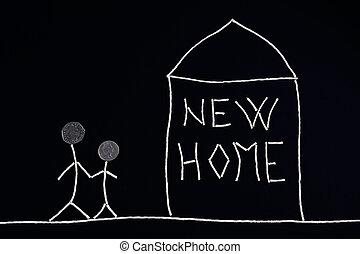 inhabituel, concept, famille, nouveau, apprécier, maison