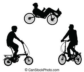 inhabituel, cyclistes, silhouettes