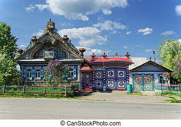 inhabituel, russe, maison, village