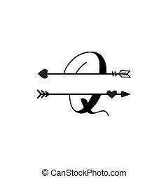 initiale, q, vecteur, monogram, fente, isolé, lettre amour