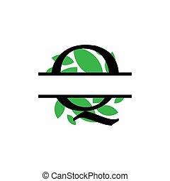initiale, q, vecteur, monogram, feuille, fente, isolé, lettre, vert