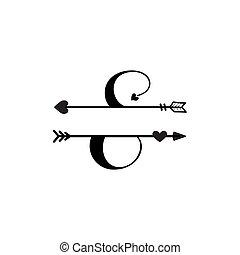 initiale, vecteur, monogram, fente, e, amour, isolé, lettre