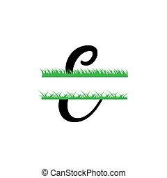 initiale, vecteur, monogram, fente, e, isolé, lettre, herbe