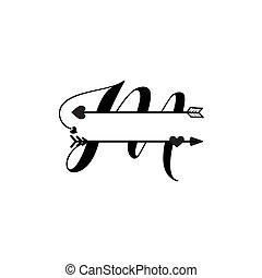 initiale, vecteur, monogram, fente, isolé, amour, m, lettre