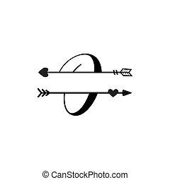 initiale, vecteur, monogram, fente, isolé, lettre amour, o