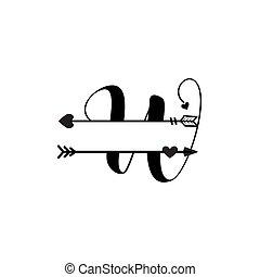 initiale, vecteur, monogram, fente, isolé, lettre amour, w
