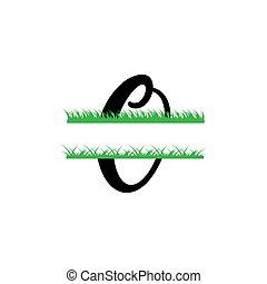 initiale, vecteur, monogram, fente, isolé, lettre, herbe, o