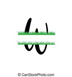 initiale, vecteur, monogram, fente, isolé, lettre, herbe, w