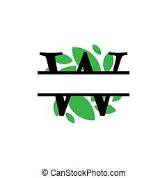 initiale, vecteur, monogram, feuille, fente, isolé, lettre, w, vert