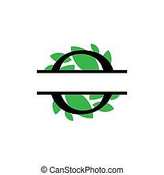 initiale, vecteur, monogram, feuille, fente, isolé, vert, lettre, o