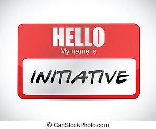 initiative, étiquette, conception, nom, illustration