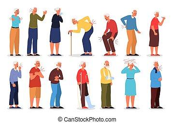 injury., vieux, illustration, vecteur, physique, gens, ensemble
