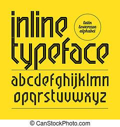 inline, moderne, oeil caractère, alphabet