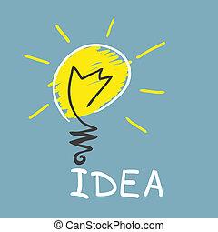 innovateur, lamp., concept, idée
