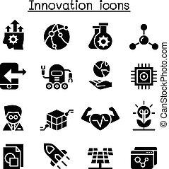 &, innovation, ensemble, icône, technologie