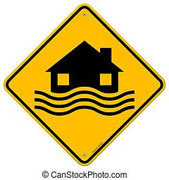 inondation, désastre, signe jaune