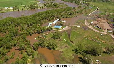 inondation, montana, rivière yellowstone, livingston