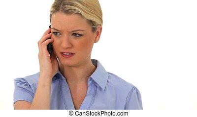 inquiété, téléphoner femme, conversation