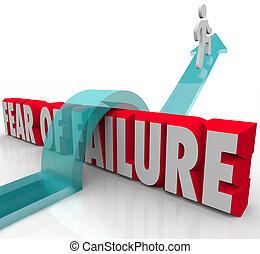 inquiétude, défi, incertitude, échec, w, peur, sur, surmonter, 3d