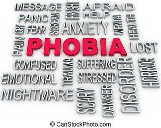 inquiétude, di, symbole, isolé, phobie, conception, white., conceptuel, 3d