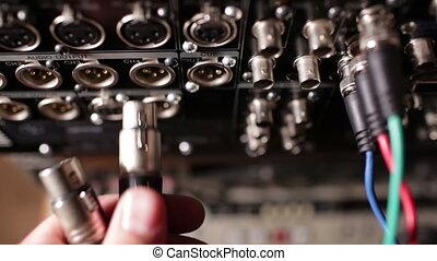 insérer, pro, recorder., professionnel, audio, câbles, xlr