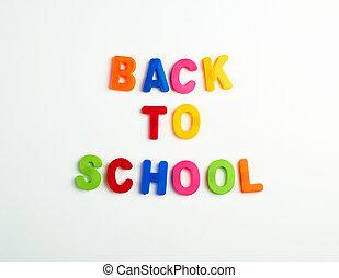 inscription, école, lettres, dos, plastique, multi-coloré