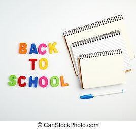 inscription, école, lettres, portables, dos, plastique, multi-coloré, pile