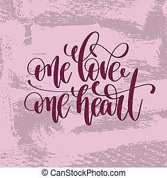 inscription, amour, lettrage, main, coeur, une