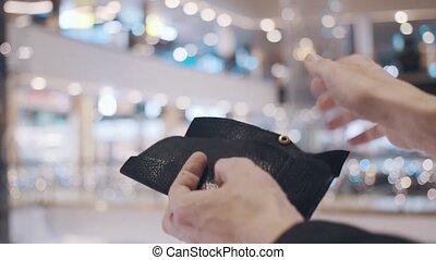 inscription, après, stiker, vendredi, portefeuille., vente, ventes, rouge noir, mains, récupérations directes, dehors, vide, homme
