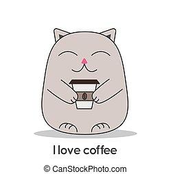 inscription, café, apprécier, chat, amour