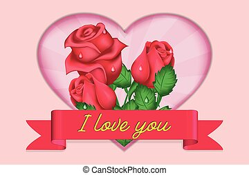 inscription, coeur, valentines, salutation, roses, bannière, jour, carte