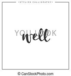 inscription, fond, puits, isolé, locution, blanc, calligraphie, vous, regard