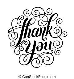 inscription, remercier, lettrage, vecteur, vous, manuscrit