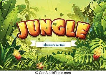 inscription, ruban, jungle, illustration, dessin animé