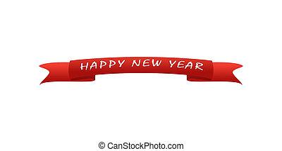 inscription, salutation, année, carte, fond, nouveau, blanc rouge